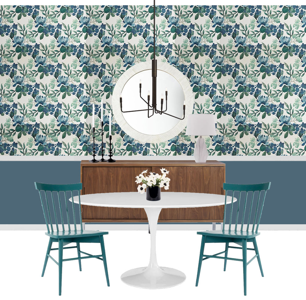 Through the Design In A Box series, you can get the sources for this look pulled together by an interior designer FOR FREE. This week it's a floral chic dining room with removable wallpaper! || blue green dining room, floral dining room, eclectic modern dining room, floral wallpaper, peel and stick wallpaper