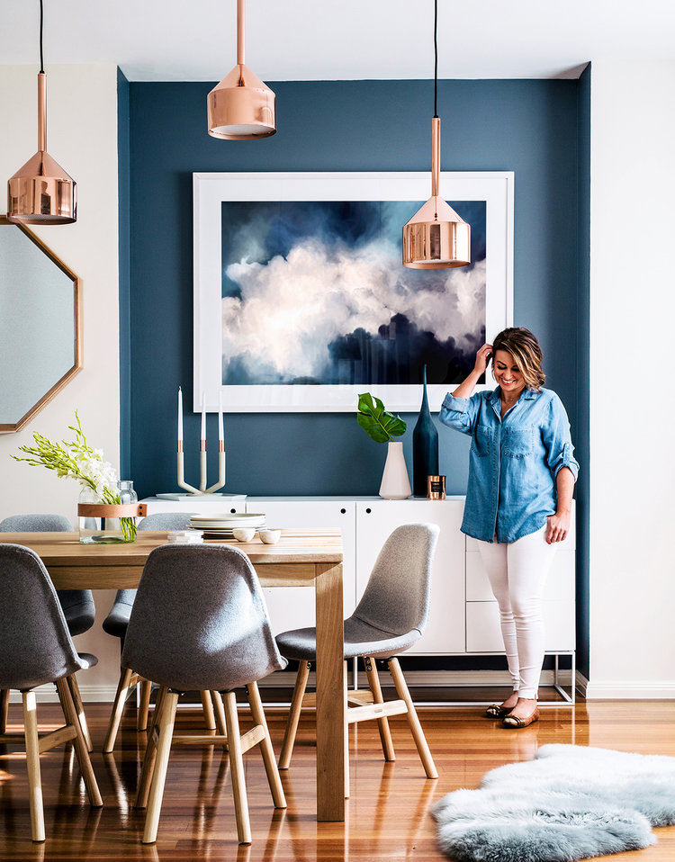 Modern blue and white dining room from Adore Magazine.