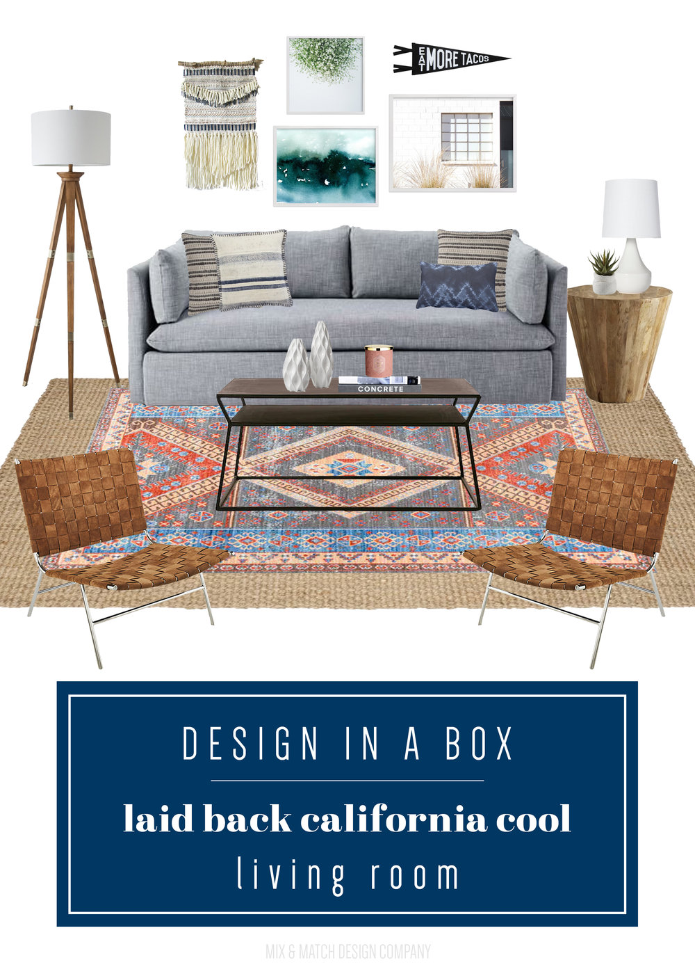 Get the look of this laid back California cool living room. All the sources are on the blog! | eclectic living room, casual living room, boho living room, gray sofa living room, layered rugs
