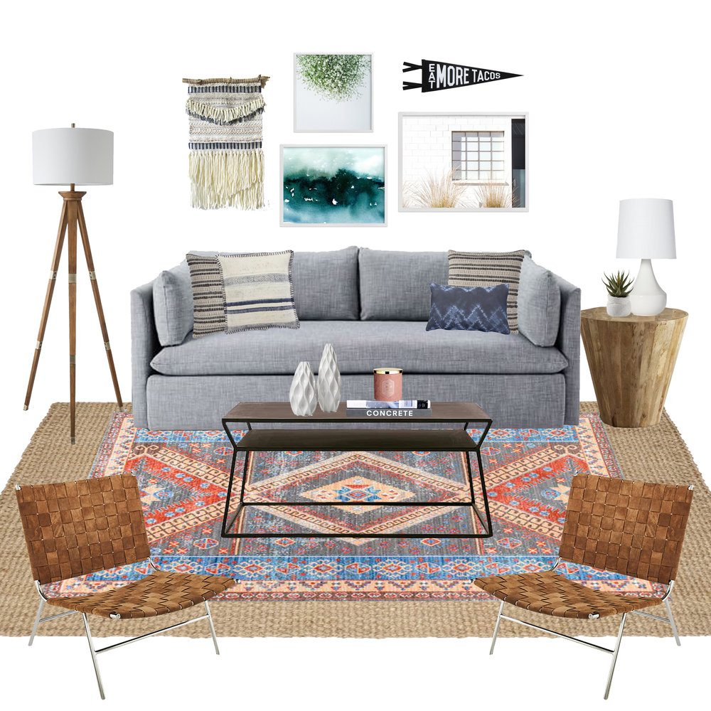 Get the look of this laid back California cool living room. All the sources are on the blog! | eclectic living room, casual living room, boho living room, gray sofa living room