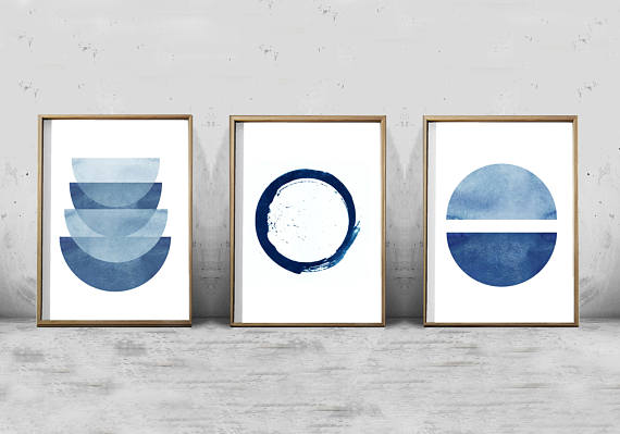 Shop small for Small Business Saturday! This post has a roundup of some of the best Etsy shops for home and decor. (Indigo abstract art prints from Wild Orchid Prints)