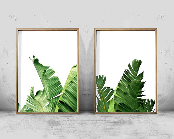 Shop small for Small Business Saturday! This post has a roundup of some of the best Etsy shops for home and decor. (banana leaf art prints from Wild Orchid Prints)