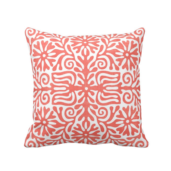 Shop small for Small Business Saturday! This post has a roundup of some of the best Etsy shops for home and decor. (Otomi Folk coral throw pillow from Pattern Behavior)