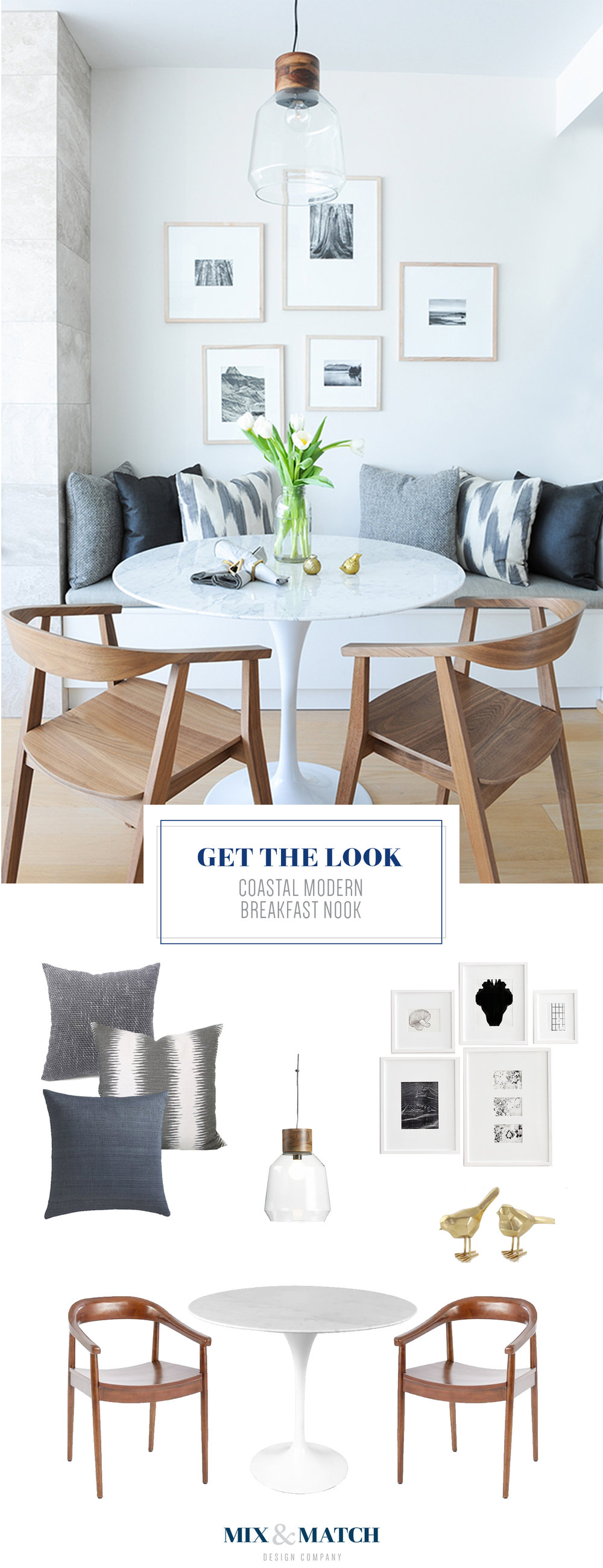 Get the look of this coastal modern breakfast nook with its round tulip table (Saarinen dining table) and wood-framed black and white photos.