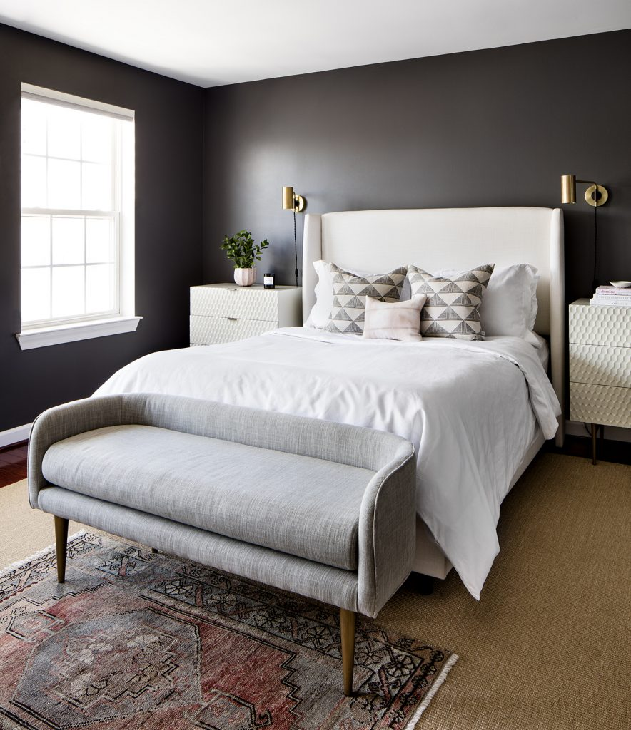Get the look of this moody modern bedroom on the blog! / Mid-Century modern bedroom, dark walls bedroom, black walls bedroom, eclectic modern bedroom