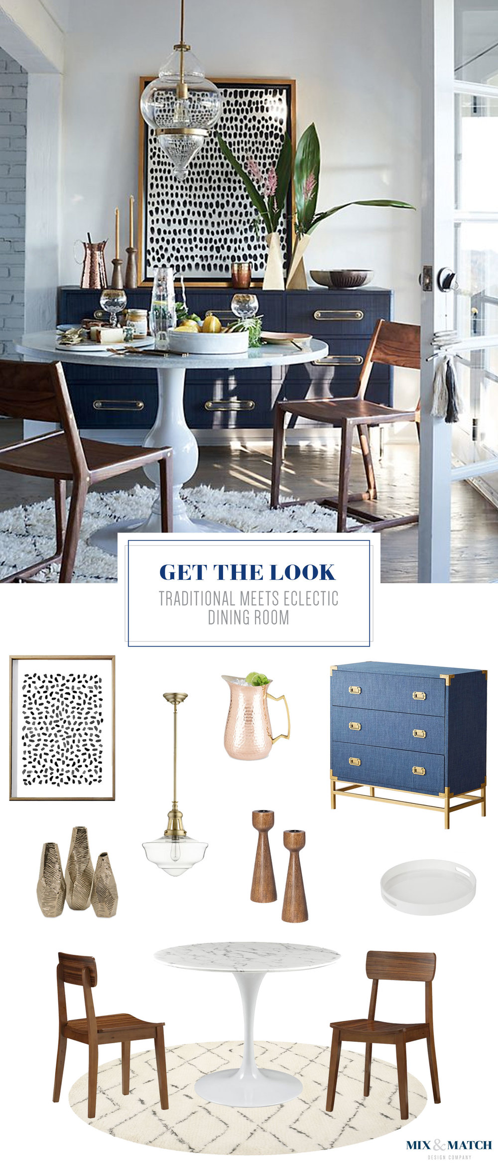 Get the look of this traditional meets eclectic dining room on the blog! / Find all the sources for these look-a-like pieces at mixandmatchdesign.com. Mid-century modern dining room, glam boho dining room, Anthropologie dining room, navy brass white dining room