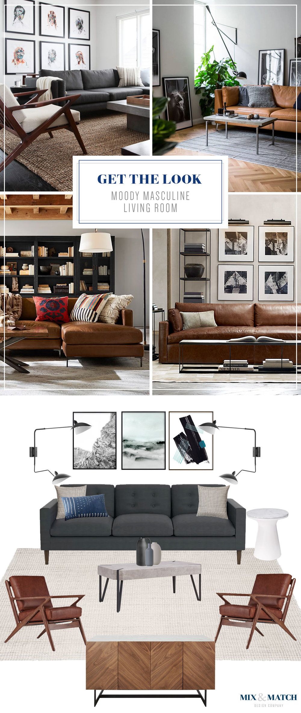 Get the look of this moody, modern, and masculine living room over on the blog! Mid-century modern furniture and rustic details mix together beautifully in this space!