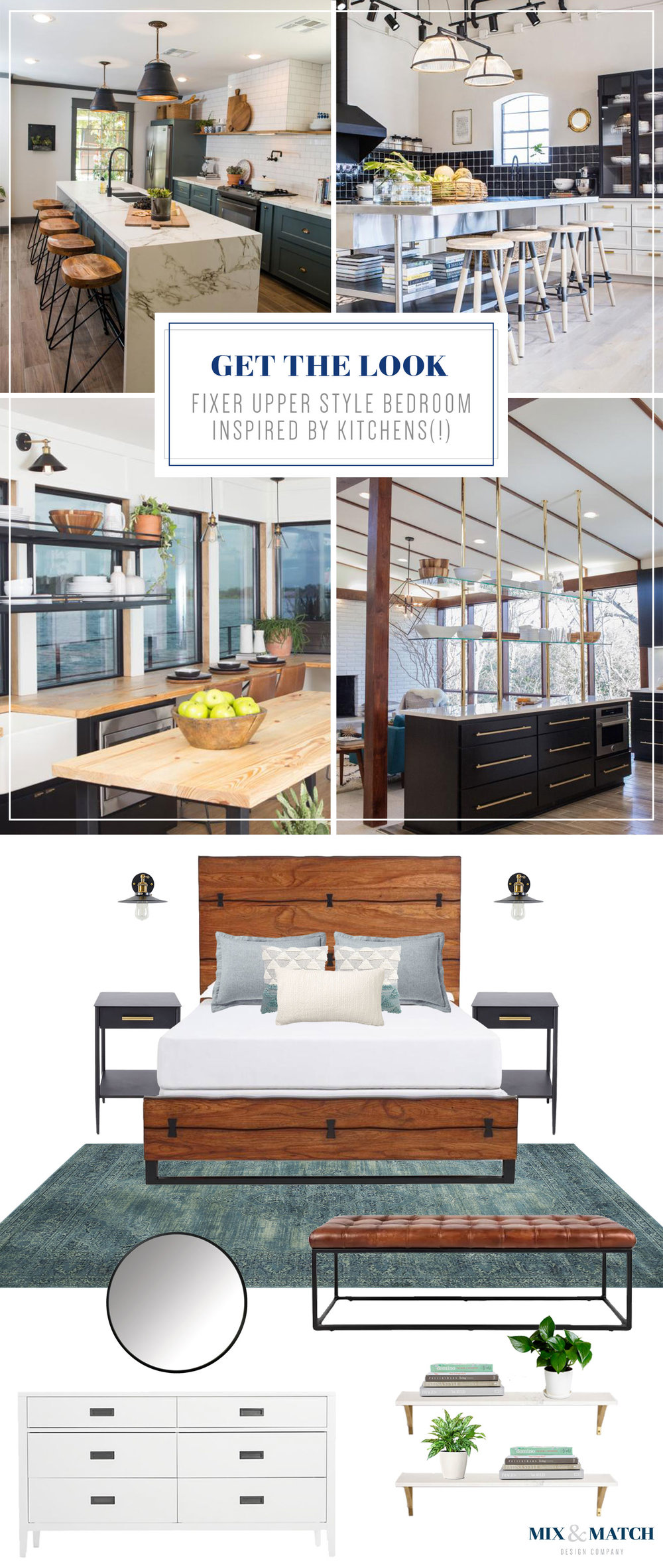 Get the Fixer Upper Industrial Modern Farmhouse look for your bedroom. This look was inspired by some of my favorite kitchens designed by Joanna Gaines. Clean lines, warm natural wood, and a good dose of black make for a cozy sleeping space.