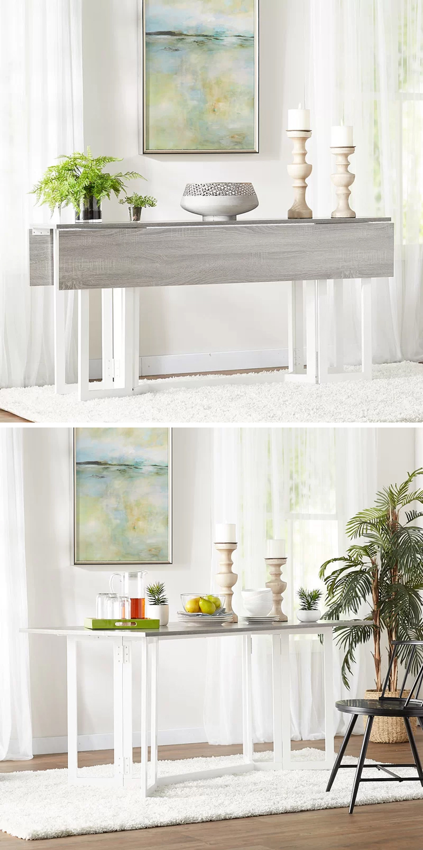 Gate leg dining tables are perfect small space solutions! See more ways to create a dining room in a small home's living space on the blog.