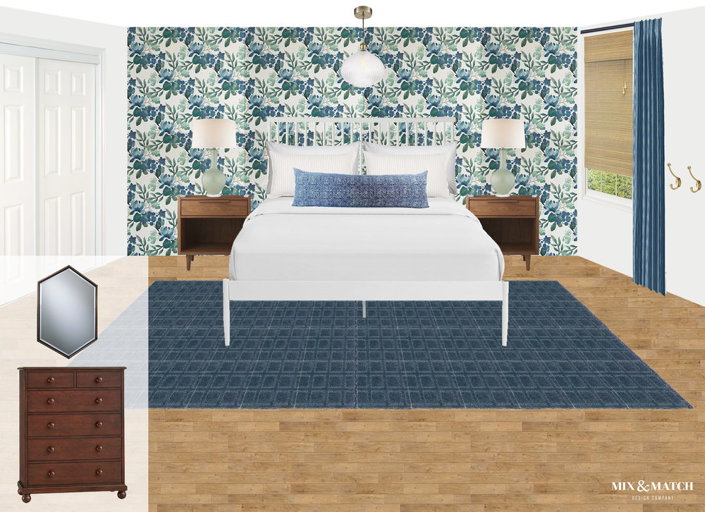 Here's a look at the design board for our One Room Challenge guest room! It's full of blues, greens, and warm wood tones, and has a modern eclectic style. | Mix & Match Design Company