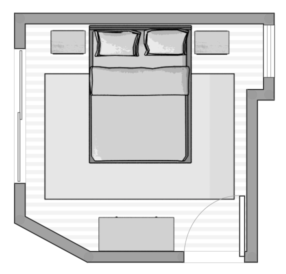 The floor plan for our guest bedroom makeover for the One Room Challenge. Mix & Match Design Company