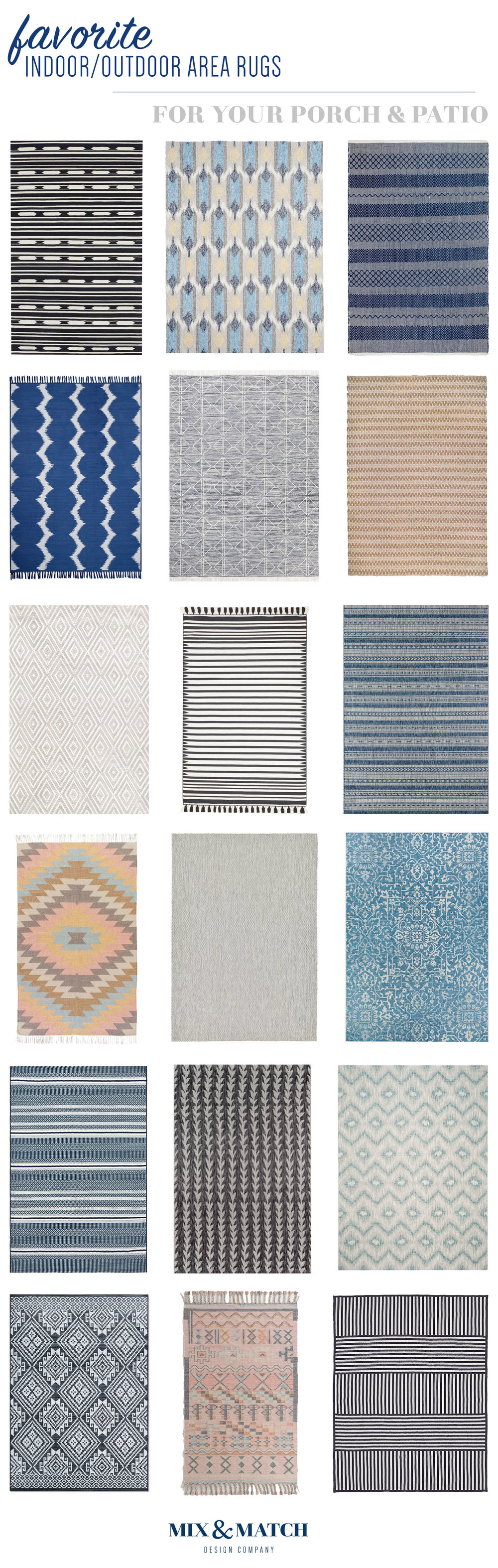 Looking for an indoor outdoor rug for your porch or patio? Look no further! I've rounded up 18 of my favorites from around the web to help you on your search. From modern to boho to geometric, I've got you covered.