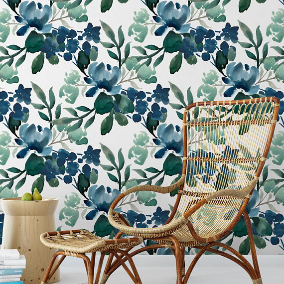 Deep Greens Floral removable wallpaper from Sweet Pea Wall Design
