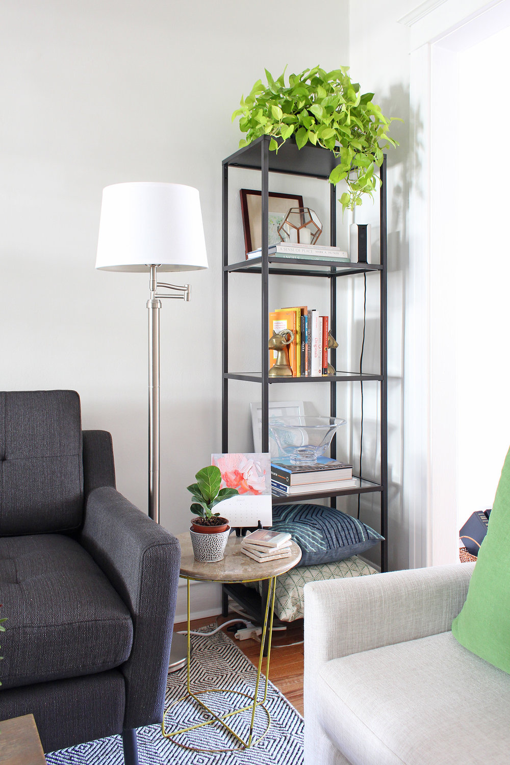 What house plants should YOU have in your home? I've got some tips for you and also share a new place you can purchase plants online! This modern living room has a pothos on top of a bookshelf - it does well in low light conditions.
