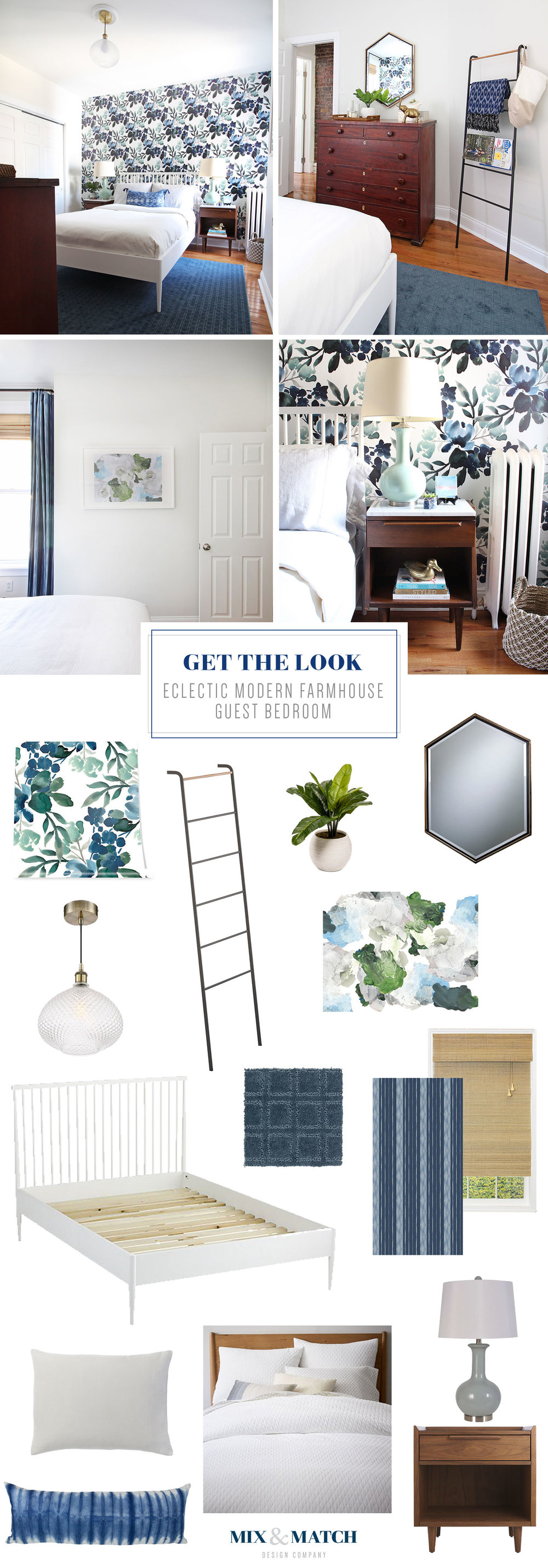 Get the look of this eclectic modern farmhouse guest room! This One Room Challenge project was designed by Mix & Match Design Company. // removable floral wallpaper, blue green bedroom