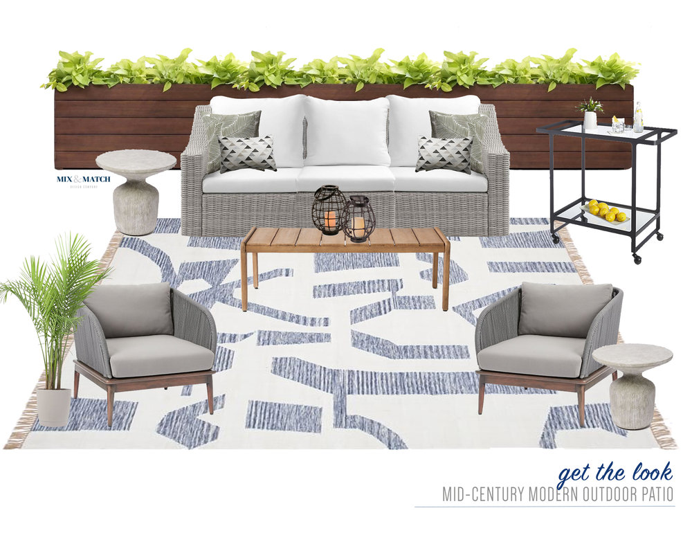 Get the look of this mid-century modern outdoor patio space! A mix of soft grays, natural wood tones, and modern lines make for a cozy, inviting outdoor living room. Add some plants to finish it off!