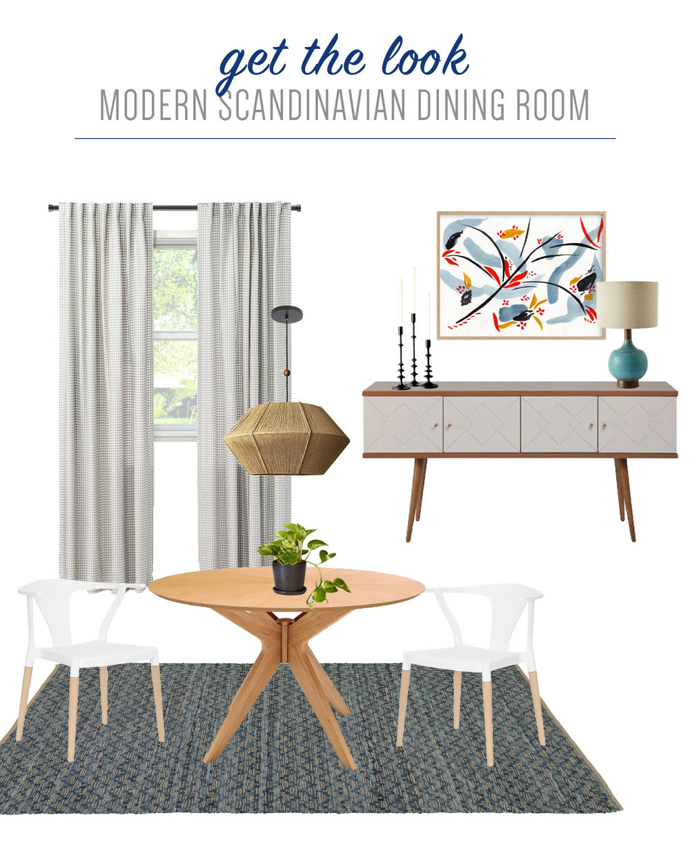 Get the look of this small scale modern Scandinavian dining room on the Mix & Match Design Company Blog. This minimalist dining room with clean lines, light wood accents, and a round dining table feels laid back and casual.