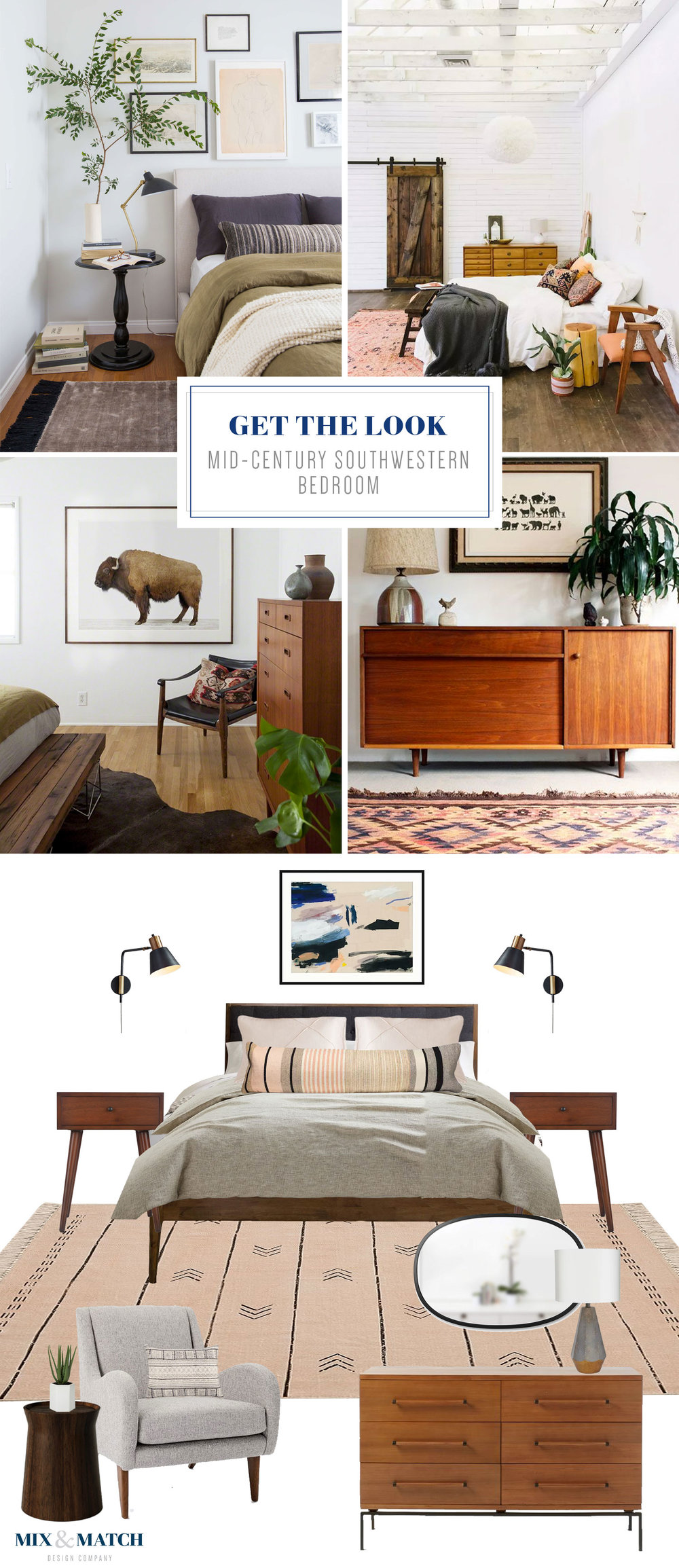Get the look of this mid-century southwestern style bedroom on the Mix & Match blog! // warm colors in bedroom, mid-century modern bedroom, tribal bedroom