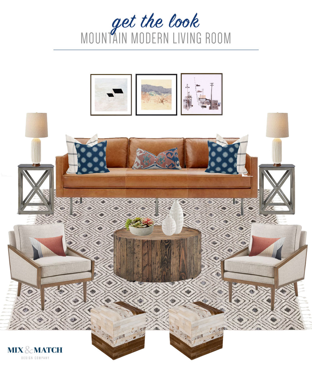 Get the look of this mountain modern living room // modern rustic living room with bohemian and and mid-century touches