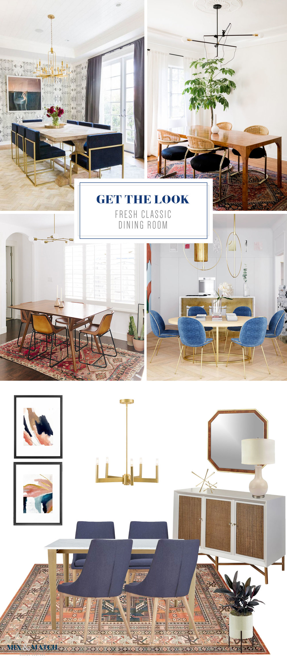 Get the look of this fresh classic dining room on the blog! This dining room has a mashup of styles that includes touches of glam, coastal, and mid-century.