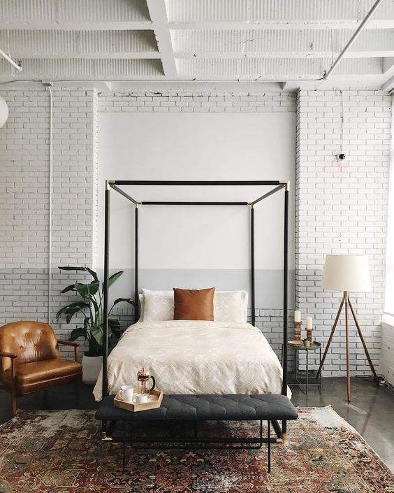 Inspiration for a modern farmhouse bedroom with a touch of industrial. If you're looking for ideas on how to decorate in the modern farmhouse style, I've got you covered!