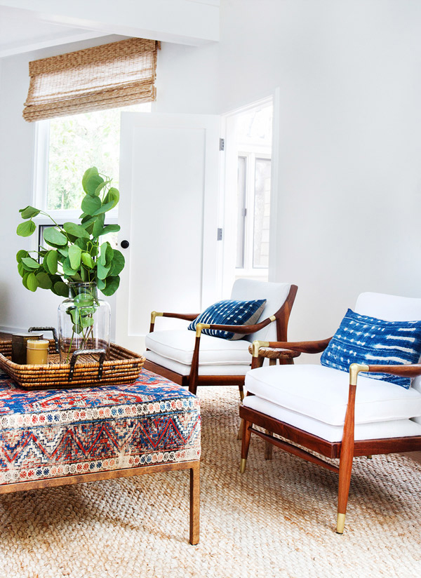 Inspiration for a California boho living room. This eclectic decorating style makes for a relaxed, cozy, but sophisticated space! Come find out how I used this inspiration to put together a look for a California boho living room design.