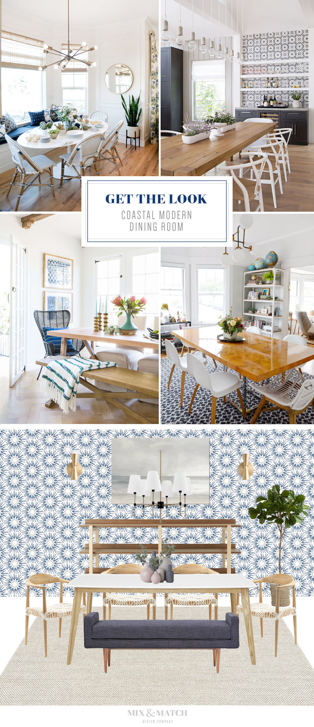 Get the look of this coastal modern dining room on the blog! This blue, white, and light wood space feels fresh, inviting, and cozy. Click over to get all the sources!