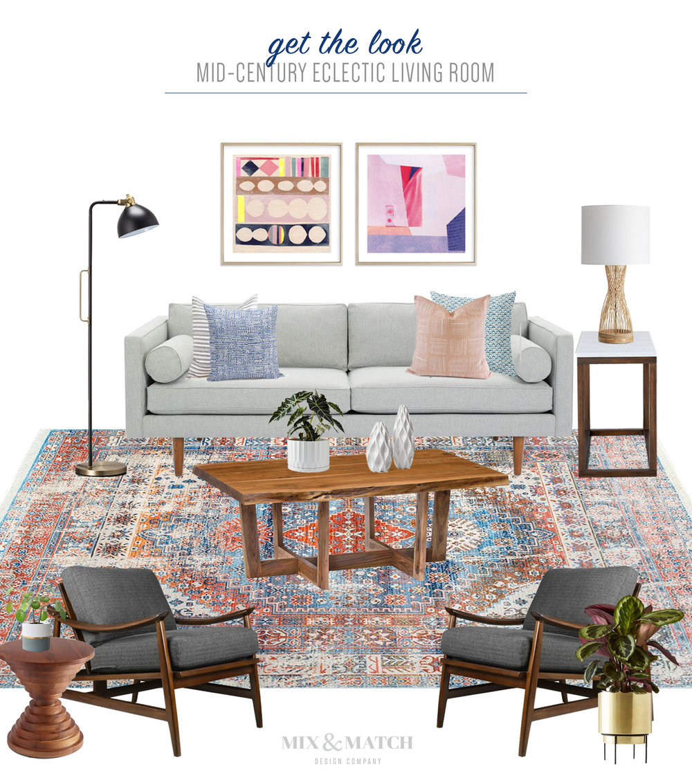 Get the look of this mid-century modern eclectic living room over on the Mix & Match Blog! The special touches like the vintage-inspired Persian rug, eclectic mix of throw pillows, and two pieces of abstract art above the mid-century sofa make this a cozy and inviting space!
