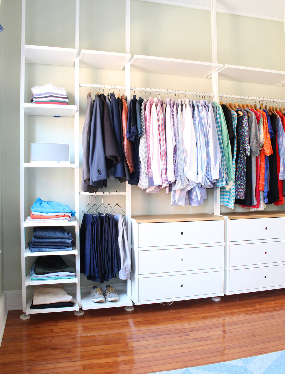 IKEA has several custom closet organization systems including the ELVARLI (featured here), ALGOT, and PAX that are great for making the most of any size closet. Want more design ideas for small spaces? Head to the Mix & Match blog!