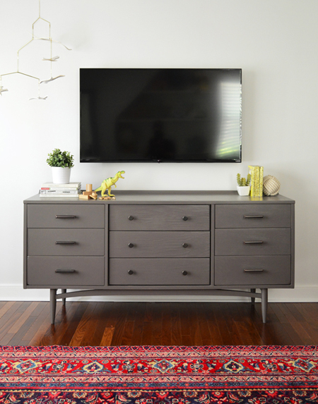Use a dresser as a media cabinet under a TV to add extra storage. Want more design ideas for small spaces? Head to the Mix & Match blog!