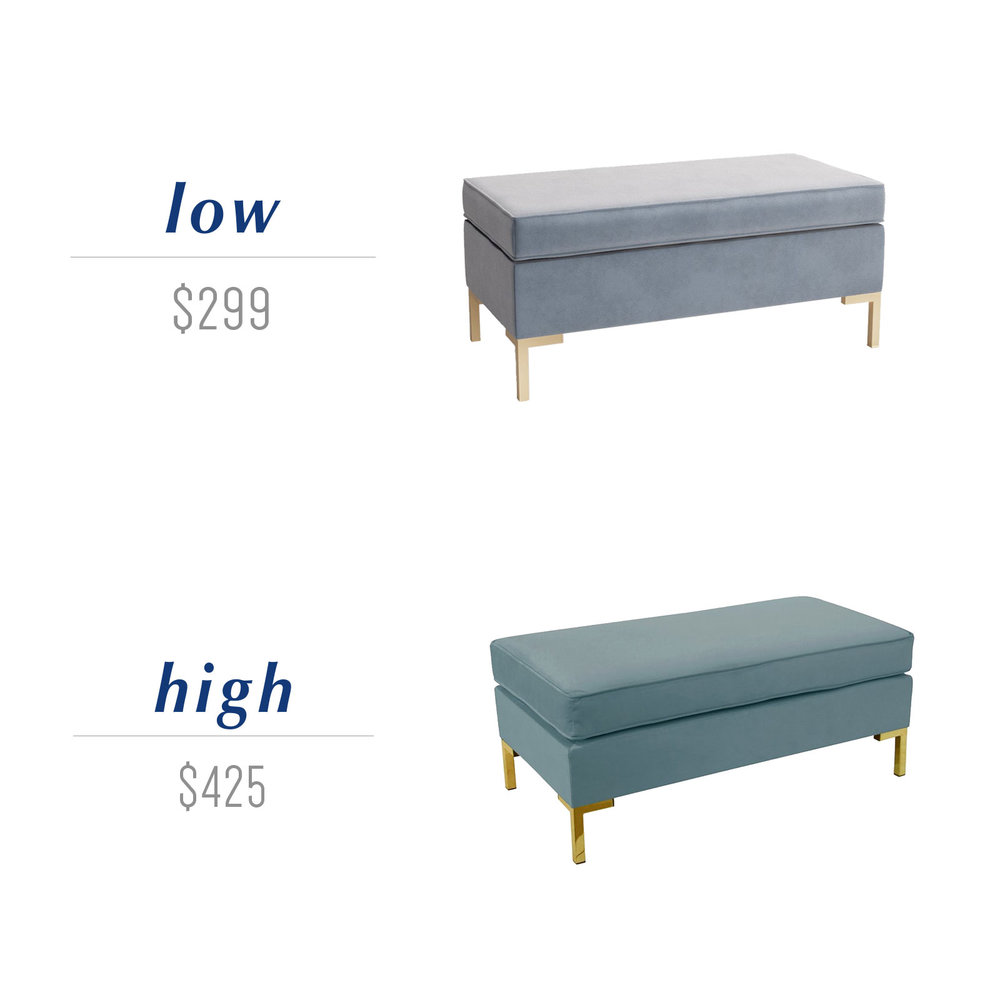 Get the look for less or decide to splurge! Come see the budget-friendly and spend-worthy pieces of furniture in this blog post including the high/low sources for this blue velvet bench ottoman with brass legs.
