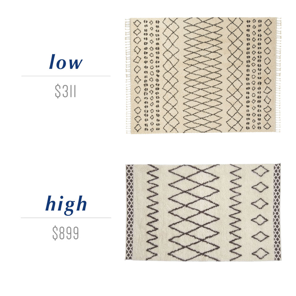 Get the look for less or decide to splurge! Come see the budget-friendly and spend-worthy pieces of furniture in this blog post including the high/low sources for these ivory and black Moroccan shag rugs.
