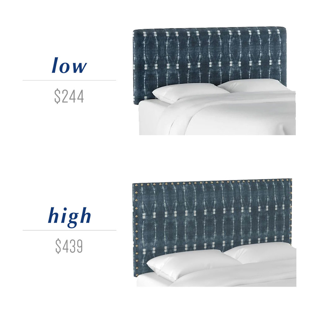Get the look for less or decide to splurge! Come see the budget-friendly and spend-worthy pieces of furniture in this blog post including the high/low sources for these indigo shibori upholstered headboards.