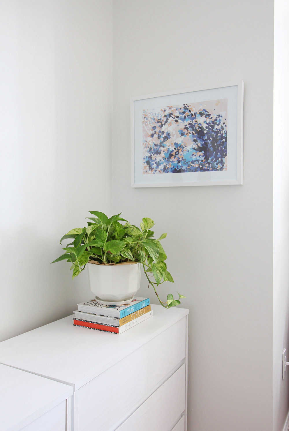Head to the blog to check out Mix & Match Design Company's mini refresh of her eclectic modern master bedroom. A modern planter with a pothos pairs beautifully with an abstract art print on top of her dresser.