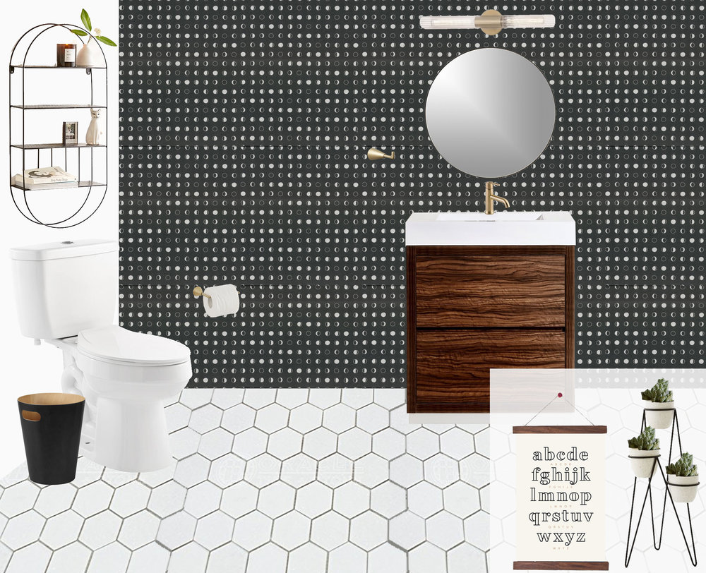"A modern, space-themed powder room designed by Mix & Match Design Company. This black, white, and brass bathroom is just the right amount of fun and sophisticated, and doesn't go too ""over the top"" with the space theme! // #edesign"