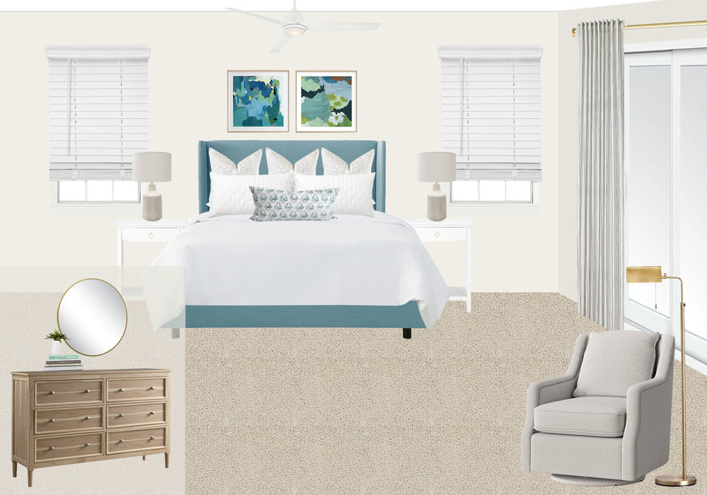 A clean-lined coastal master bedroom design by Mix & Match Design Company for a beach house in North Carolina. This cozy space features an aqua blue upholstered wingback bed with neutral bedding, a gray swivel chair for reading, and a light wood dresser. // #edesign #coastalbedroom #beachhousedesign