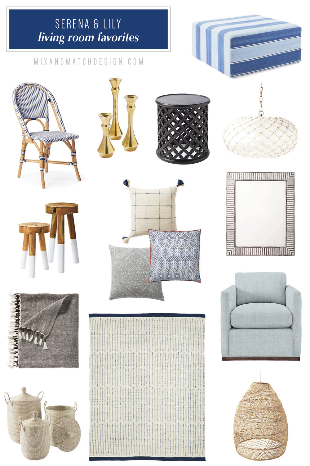 Serena & Lily is one of my favorite places to shop for modern coastal decor and I've rounded up a bunch of my favorites from their collection for the living room to share with you! They have an amazing selection of fresh, tailored furniture and home decor for every room in your home. // #designerfinds #interiordesign #decor #moderncoastal