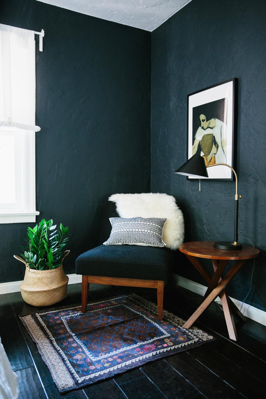 Boho-Reading-Corner-Dark-Green-Walls.png