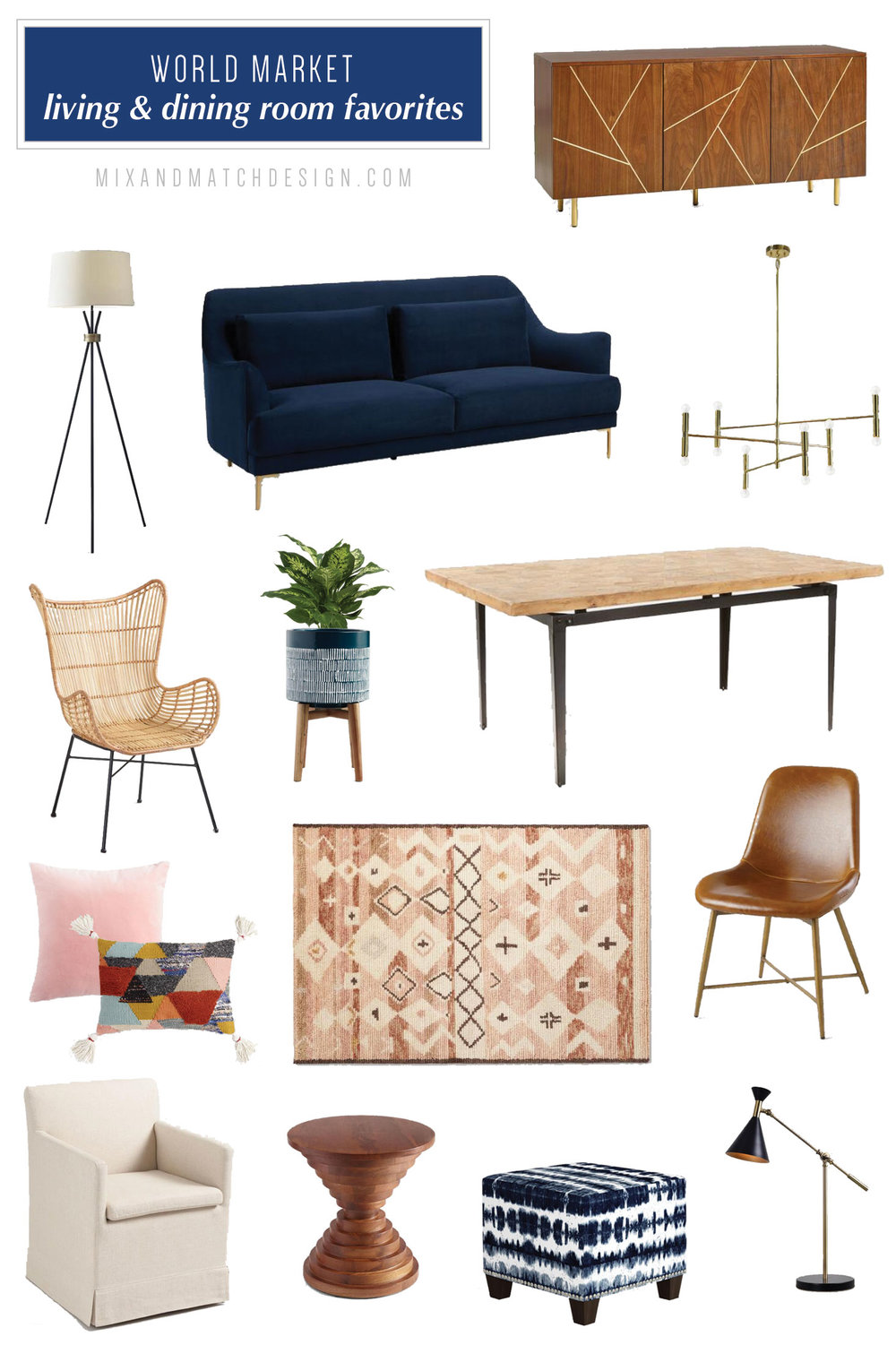 World Market is one of my favorite places to shop for global, mid-century, and eclectic furniture and decor, and I've rounded up a bunch of my favorites for your living and dining rooms to share with you! // #designerfinds #interiordesign #decor #eclecticdecor #globaldecor #decorating