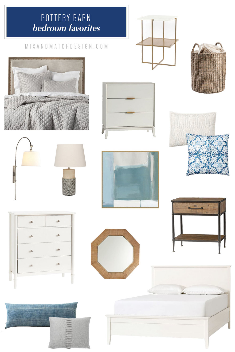 Pottery Barn is one of my favorite places to shop for farmhouse, industrial, and classic furniture and decor, and I've rounded up a bunch of my favorites for your bedroom to share with you! // #designerfinds #interiordesign #decor #farmhousestyle #modernfarmhouse #decorating