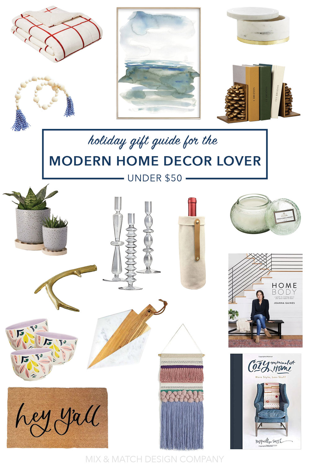 Need some gift ideas for the home decor lover in your life? I've got you covered! This round up is for the folks whose style falls into that modern or modern boho category - and everything is under $50! \\ #holidaygiftguide #moderngiftguide