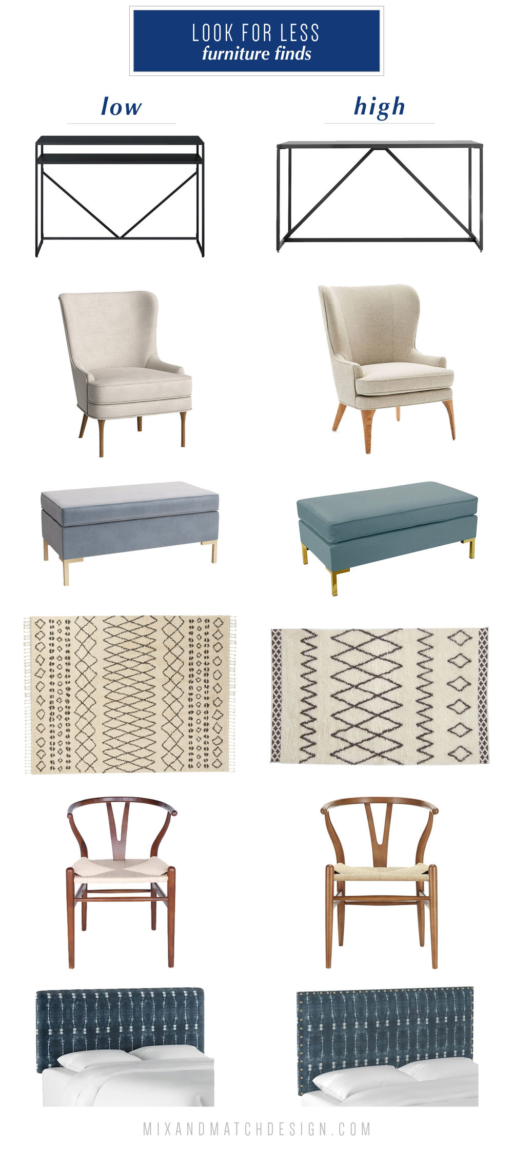 """Taking a look back at the top 10 blog posts for Mix & Match Design Company of 2018! Come see what was popular in interior decorating, design tips, e-design projects, and more. This """"look for less"""" post made the list! Come see more of my high/low finds over on the blog."""