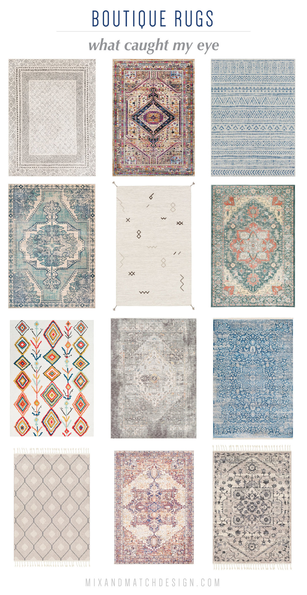 I love a good rug - it can be the finishing touch on a room! On the blog, I'm sharing a roundup of favorites from Boutique Rugs in different styles and colors. I've got Persian-style, Moroccan, Vintage, and more. Come on over! | Rug shopping guide