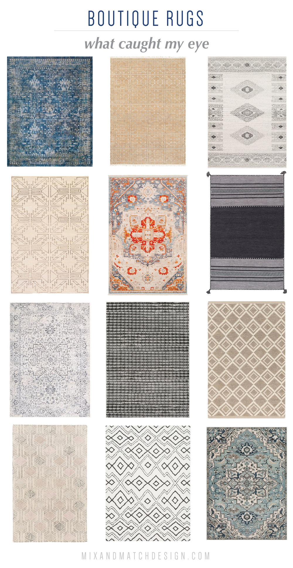 I love a good rug - it can be the finishing touch on a room! On the blog, I'm sharing a roundup of favorites from Boutique Rugs in different styles and colors. I've got Natural Fiber, New Traditional, Geometric, and more. Come on over!