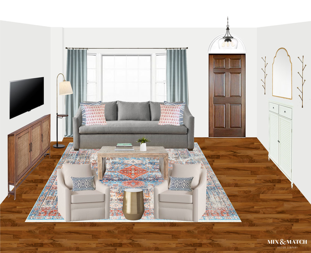 Are you redecorating your home in 2019? Let's chat! My approachable and affordable e-design packages might be just the right fit. Get the design help you need from Mix & Match Design Company's virtual interior design services and turn your home into a space you love! // eclectic modern farmhouse living room, eclectic farmhouse living room
