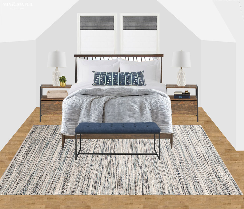 Are you redecorating your home in 2019? Let's chat! My approachable and affordable e-design packages might be just the right fit. Get the design help you need from Mix & Match Design Company's virtual interior design services and turn your home into a space you love! // modern farmhouse bedroom design, modern farmhouse bedroom e-design
