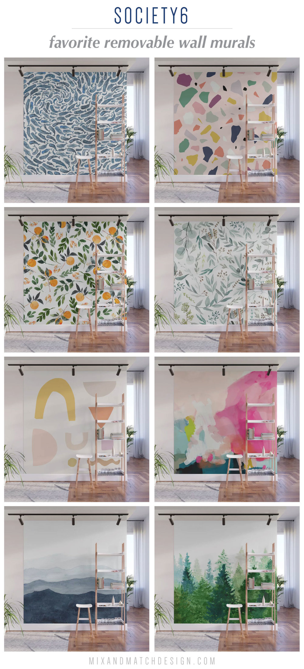Society6 just launched removable wall murals on their site and I'm loving them! Think of them as oversized pieces of art - use them to make a big statement or as a beautiful backdrop. The fact that they're temporary makes them perfect for a rental or for those of us who have trouble committing to the permanent kind!