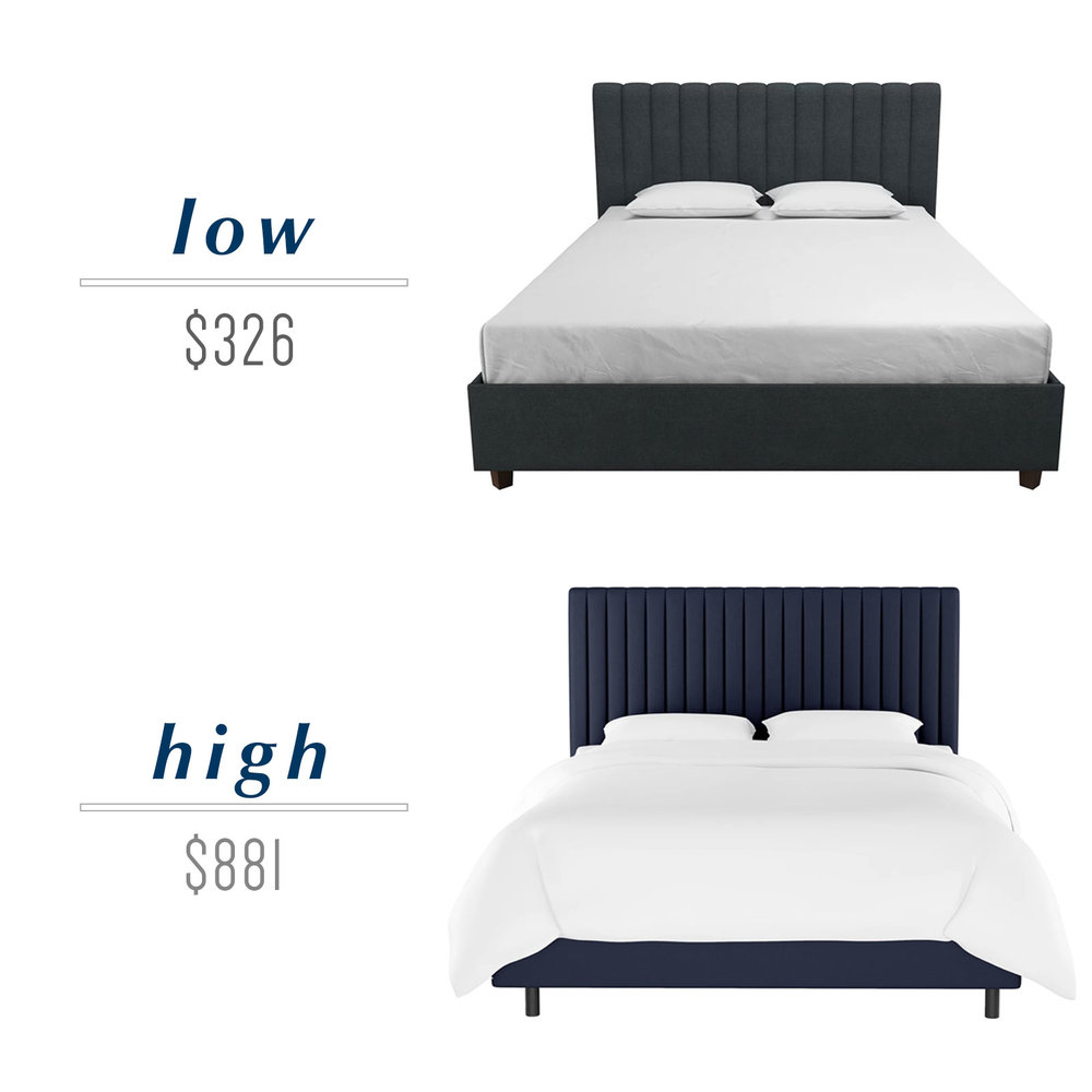 Get the look for less or decide to splurge! Come see the budget-friendly and spend-worthy pieces of furniture in this blog post including the high/low sources for this channel tufted platform bed in navy.