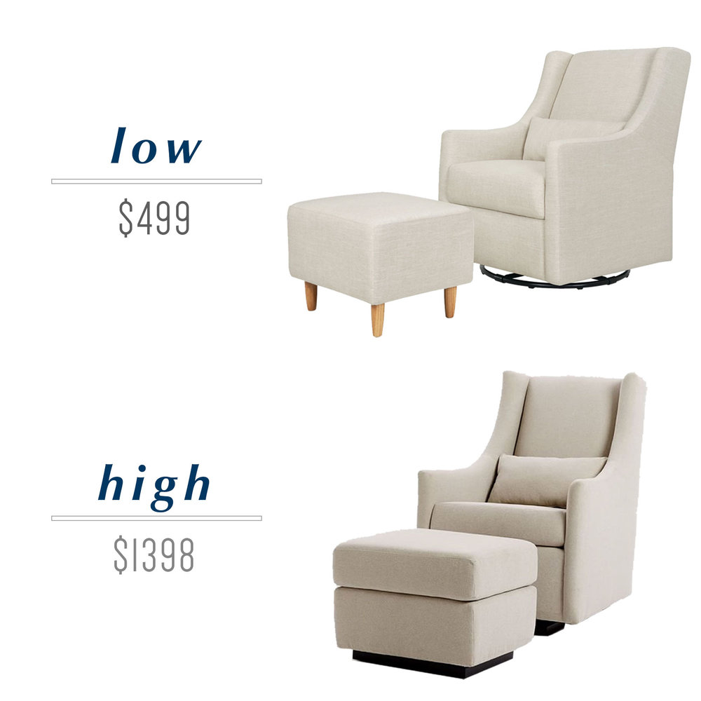 Get the look for less or decide to splurge! Come see the budget-friendly and spend-worthy pieces of furniture in this blog post including the high/low sources for this wingback glider and ottoman.