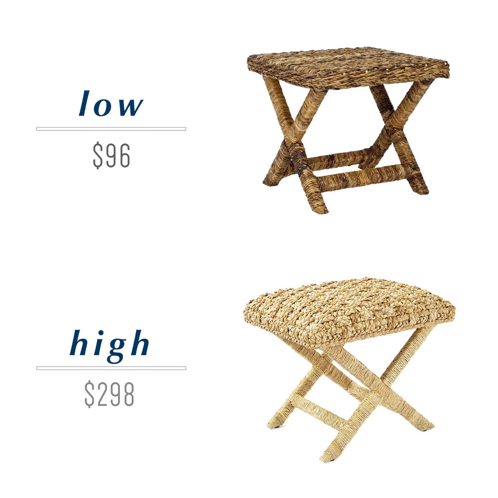 Get the look for less or decide to splurge! Come see the budget-friendly and spend-worthy pieces of furniture in this blog post including the high/low sources for this x-base wicker stool ottoman.
